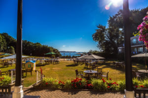 View of the Sea and Lawns from the Verandah at the Langstone Cliff Hotel, Devon
